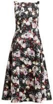 Erdem Kinsey Floral-print Crepe Midi Dress - Womens - Black Print
