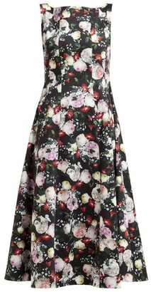 Erdem Kinsey Floral-print Crepe Midi Dress - Womens - Black Print