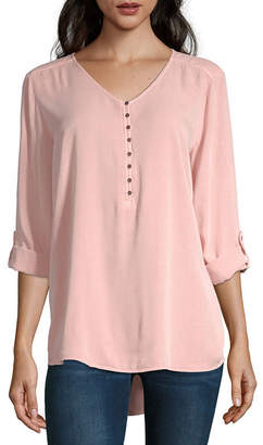 A.N.A Womens Long Sleeve Loose Fit Button-Front Shirt