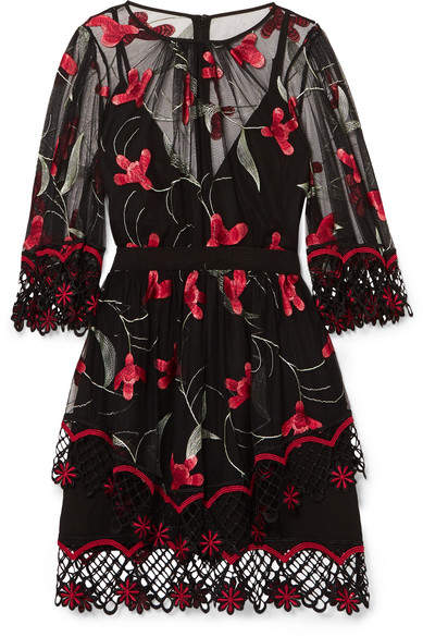 Alice McCall Wish You Were Here Guipure Lace-trimmed Embroidered Tulle Mini Dress - Black