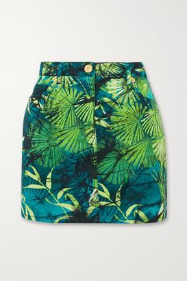 Versace Printed Denim Mini Skirt - Green