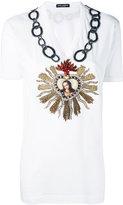 Dolce & Gabbana embroidered heart T-shirt - women - Silk/Cotton/Linen/Flax/glass - 40