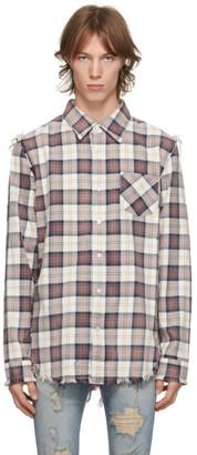 R 13 Off-White and Purple Shredded Seam Shirt