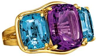 Verdura Blue Topaz and Amythest Three Stone Ring