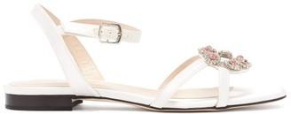 Christopher Kane Crystal Daisy-cupchain Satin Sandals - White