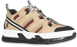 Burberry Beige Monogram Motif Mesh And Leather Sneakers