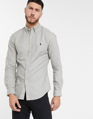 Polo Ralph Lauren slim fit oxford shirt in grey garment dye with logo