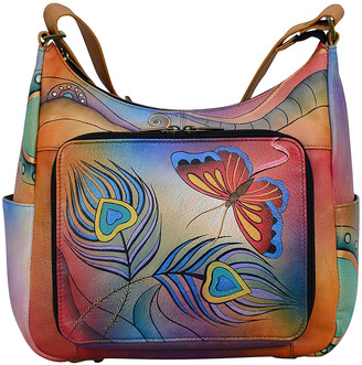 Anuschka Anna By Anna by Women's Hobos Peacock - Blue Peacock Feather Butterfly Hand-Painted Leather Organizer Hobo