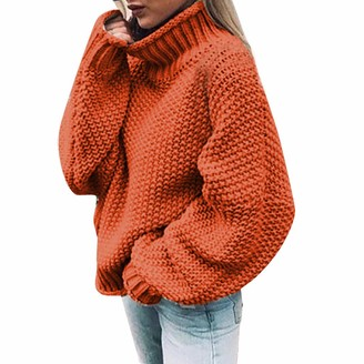 Lazzboy Women Lazzboy Turtleneck Sweater Womens Long Sleeve Knitted Tops Casual Solid Loose Oversize Baggy Plus Size Pullover Cape Poncho Knitwear (M(UK 16)