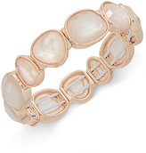 Charter Club Rose Gold-Tone Glossy White Stone Stretch Bracelet, Only at Macy's