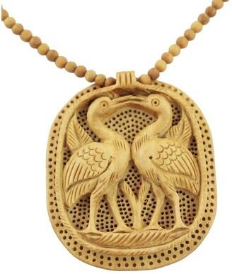 Novica Handmade Kadam Wood 'Swan Kiss' Necklace