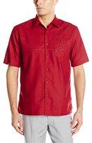 Cubavera Men's Short Sleeve Geometric Embroidery with Pocket Woven Shirt