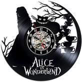 Alice In Wonderland Vinyl Record Wall Clock - Decorate your home with Modern Art - Gift for kids, girls and boys - Win a prize for a feedback