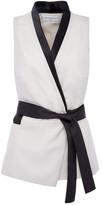 Amanda Wakeley Alabaster & Black Sleeveless Wrap Top