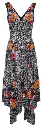 Saloni Zuri Asymmetric Printed Silk Crepe De Chine Dress