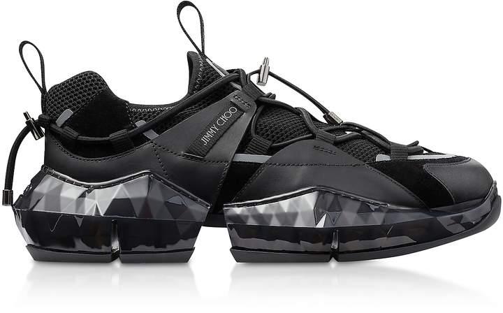 Jimmy Choo Black Diamond Trial Sneakers w/ Stretch Mesh