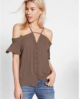 Express Short Sleeve Cold Shoulder Blouse