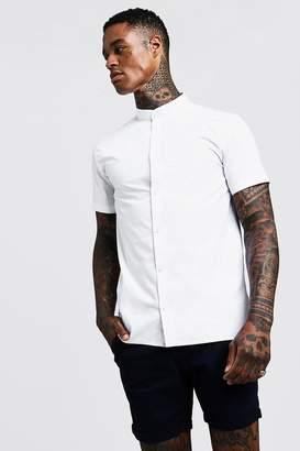 boohoo Slim Fit Short Sleeve Grandad Collar Shirt
