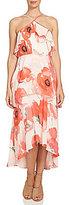 CeCe Watercolor Poppy Tiered Ruffle Maxi Dress