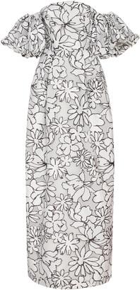 Prabal Gurung Floral Print Puff Sleeve Gown