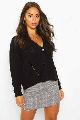 boohoo Chunky Knitted Cropped Cardigan