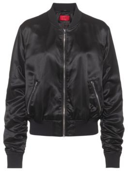 HUGO BOSS Lustrous bomber jacket in recycled fabric with handwritten logos