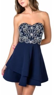 B. Darlin Juniors' Strapless Embellished-Bodice A-Line Dress