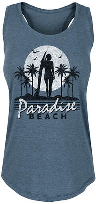 Instant Message Women's Women's Tank Tops HEATHER - Heather Blue 'Paradise Beach' Racerback Tank - Women