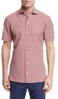 Ermenegildo Zegna Seersucker-Check Short-Sleeve Shirt, Red