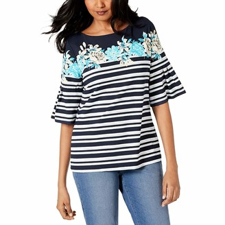 So Buts Maternity Clothes SO-buts Women Maternity Pregnant Flare Sleeve Striped Print Nursing Loose Fit Blouse Top T-shirt For Breastfeeding (Navy XL)