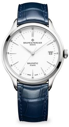 Baume & Mercier Clifton Baumatic Stainless Steel Rhodium-Plated Alligator Strap Watch