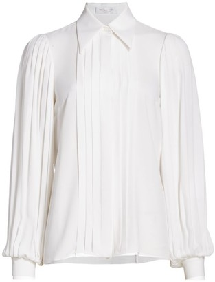 Michael Kors Pleated Puff-Sleeve Silk Blouse