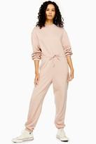 Topshop Blush Pink Sweatshirt Jumpsuit With Tie Waist