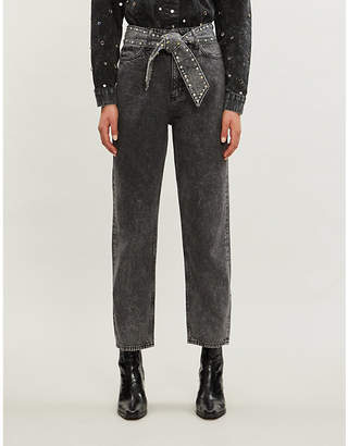 Sandro Embellished waist-tie high-rise jeans