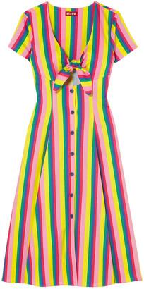 STAUD Alice Knotted Striped Stretch-cotton Poplin Dress