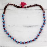 Artisan Crafted Cotton and Wood Necklace Fair Trade Jewelry, 'Nature of Turquoise'