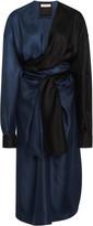 Bottega Veneta Two-Tone Silk-Twill Midi Wrap Dress