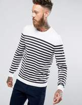 Asos Knitted Stripe Sweater In White & Navy