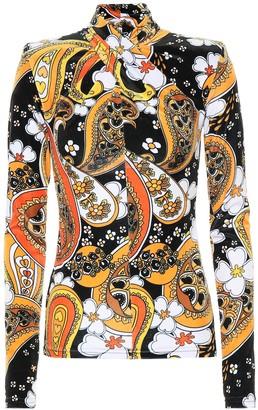 Richard Quinn Paisley velvet high-neck top