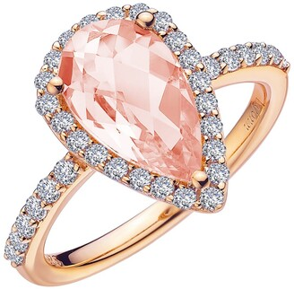 Lafonn Rose Gold Plated Sterling Silver Pear Cut Simulated Morganite & Pave Simulated Diamond Halo Ring
