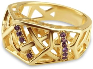 Bellus Domina Gold Plated Crossover Amethyst Ring