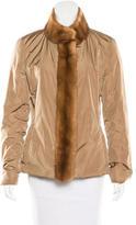 Prada Mink-Trimmed Rain Jacket