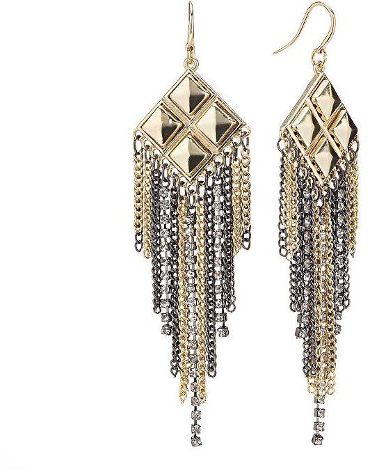 JLO by Jennifer Lopez two tone simulated crystal fringe chandelier earrings