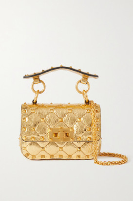 Valentino Garavani Rockstud Spike Micro Quilted Metallic Leather Shoulder Bag - Gold