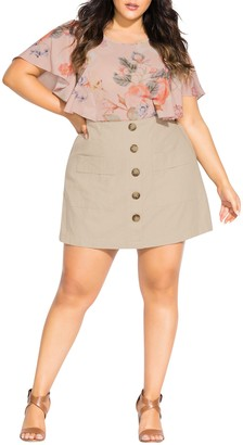 City Chic Wild Buttons Linen Blend Skort (Plus Size)