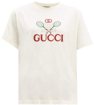 Gucci Tennis Cotton Jersey T Shirt - Womens - Cream Multi