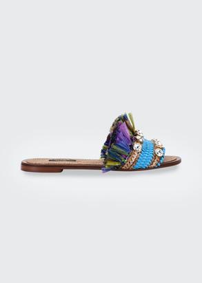 Dolce & Gabbana Jewel And Raffia Flat Slide Sandals