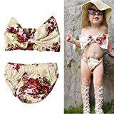 AMA(TM) 2Pcs Toddler Kids Baby Girls Summer Swimsuit Floral Bikini Set Swimwear Bathing Suit Beachwear (3T, Multicolor)