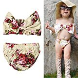 AMA(TM) 2Pcs Toddler Kids Baby Girls Summer Swimsuit Floral Bikini Set Swimwear Bathing Suit Beachwear (4T, Multicolor)
