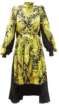 Balenciaga Double-layer Mimosa-print Silk-satin Dress - Yellow Print